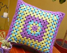 Items similar to Handmade Crocheted Decorative Pillow - Cushion on Etsy Crochet Cushion Cover, Crochet Pillow Pattern, Crochet Fabric, Crochet Cushions, Crochet Stitches Patterns, Crochet Home, Crochet Motif, Crochet Designs, Crochet Granny Square Afghan