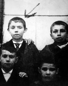 Adolf Hitler at age 10 in a school photograph, 1899