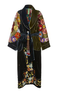 Exclusive Belted Silk-Embroidered Velvet Coat by Rianna + Nina Cool Outfits, Fashion Outfits, Fashion Trends, Fashion Tips, Mode Kimono, Fashion Details, Fashion Design, Kimono Fashion, Tribal Fashion