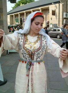 "A traditional Cypriot bridal outfit often called a ""sayia"". The French speaking people of Cyprus have adapted to the Cypriot culture, meaning that this garment would be worn by French-Cypriots at weddings. Greek Traditional Dress, Traditional Fashion, Traditional Outfits, Traditional Wedding, Folk Costume, Costume Dress, Greek Wedding, Ethnic Dress, Macedonia"