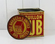 Large tin Kub bouillon Extra large tin box Made by ohlalacamille