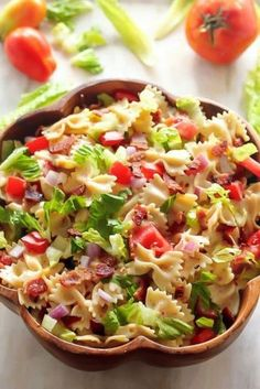 15 Of Our Favorite Summer Salads - 24 Cottonwood Lane- 20 Minute BLT Pasta Salad Blt Pasta Salads, Easy Pasta Salad, Pasta Salad Recipes, Blt Salad, Pasta Salat, Cooking Recipes, Healthy Recipes, Hotdish Recipes, Summer Salads