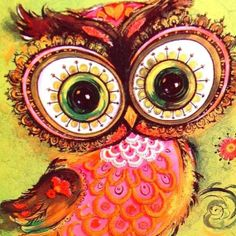 groovy owl from a vintage card by Garrison