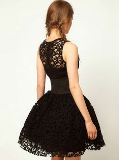 Black Sleeveless Hollow Lace Flare Dress - Sheinside.com Mobile Site