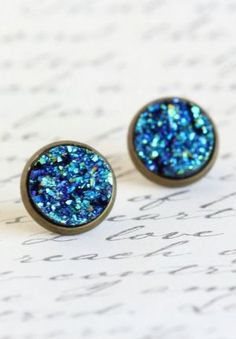 Blue Sparkle Stud Earrings - I have wanted some glitter-appearing, sparkly stud earrings like this for a long time!!!