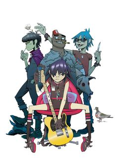From left to right is Murdoc, Noodle, Russle, and 2D. They make up and represent the band known as the Gorillaz. They are a completely animated musician group with their own personalities and back stories. They have become very Iconic for both Damon Albarne Jamie Hewlett (creators of Gorillaz) since the band is most certainly impromptu compared to other musicians today.