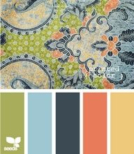 I like the color scheme  Living room. Would work well with keeping my blues and greens the main colors. Coral in dining room - use yellow in living room - kitchen with green  then navy green and light blue in formal living room