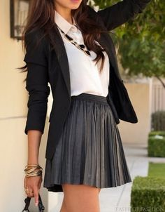 black and grey and white skirt and shirt and blazer nice style