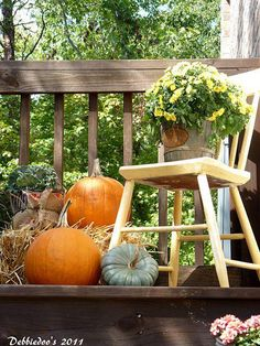 40 Inspiring Fall Patio Decorating Ideas : 40 Cozy Fall Patio Decorating Ideas With Wooden Chair Pumpkin Ornament Hardwood Floor Autumn Decorating, Porch Decorating, Decorating Ideas, Decor Ideas, Diy Ideas, Chair Planter, Porch Planter, Planters, Cozy Patio