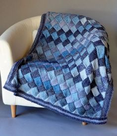 "Free Knitting Pattern for Woven Sky Throw - Entrelac afghan knit in 2 different colorways of variegated yarn. 42″ x 31¼"". Bulky yarn. Designed by Universal Yarn"