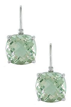 14K White Gold Diamond & Cushion Green Amethyst Dangle Earrings