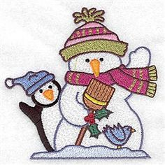 Adorable Ideas Embroidery Design: Snowman Penguin 3.88 inches H x 3.89 inches W