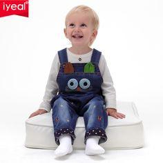 Iyeal 2017 primavera bebé mamelucos animales del bebé muchacha del muchacho pantalones vaqueros mono de la alta calidad del dril de algodón ropa infantil ropa de bebé 0-2y