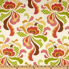 LAMINATED cotton fabric - Freshcut Groovy Brown yardage (aka oil cloth vinyl coated fabric) Heather Bailey Freshcut BPA free wide