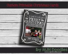 Custom Chalkboard Christmas Card - Happy Holiday - Wishes for you - Merry Christmas - Printable - Digital File - Joy to the World