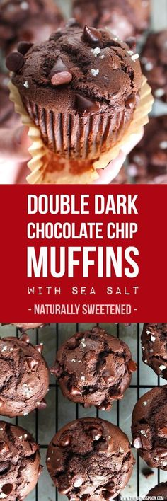 These decadent double chocolate muffins are naturally sweetened with just enough maple syrup to balance out the rich chocolate flavor from a mixture of cacao powder and dark chocolate chips. A sprinkle of coarse sea salt on top creates a slightly sweet & salty first bite that's a dark chocolate lover's dream.   real food recipe   healthy dessert  