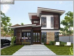 This modern style, half floor home has a unique style. It is distinctive in shape. Duplex House Plans, Bungalow House Plans, Dream House Plans, Home Design Floor Plans, Dream Home Design, Home Modern, Modern House Plans, Simple House Design, Modern House Design