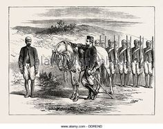 THE WEST COAST OF AFRICA: HOUSSA MERCENARIES FOR THE ASHANTEE WAR, ANGLO ASHANTI WAR, GHANA, 1873 engraving - Stock Image