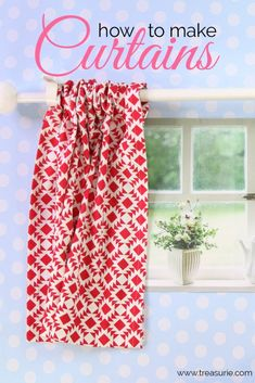 diy curtains Here I will show you the easiest way how to make curtains using the rod pocket method. Even beginners will be able to sew curtains with this easy method. Small Bathroom Window, Small Window Curtains, Bathroom Window Curtains, Kitchen Curtains, Outdoor Curtains, Camper Curtains, No Sew Curtains, Long Curtains, How To Make Curtains
