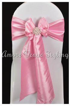 #wedding #sash #taffeta #pink #babypink #crystal #brooch