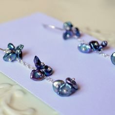 NEW Peacock Pearl Earrings Sterling Silver Indigo by livjewellery