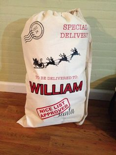 """Love this! """"Have your kids go through their toys and pick out what they don't play with anymore to put in the sacks. On Christmas eve set them out for Santa to pass on to other kids in need. Santa will then fill them with their new toys for Christmas morning.""""   Personalized Santa Sack/Bag- Large 33""""x22"""" Heavy Duty Canvas by FreshSqueezedFlair on Etsy https://www.etsy.com/listing/170335072/custom-personalized-santa-sackbag-large"""
