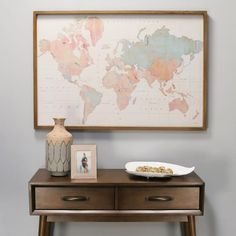 Watercolor World Map Framed Wood Wall DecorDefault Title