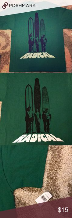 NWT Surfer Tee Brand NEW WITH TAGS! Vintage surfer graphic tee!  Green color with screen print.  Fruit of the Loom 100% cotton shirt.  Perfect to go with some board shorts, jeans, or khakis! Fruit of the Loom Shirts Tees - Short Sleeve