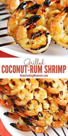 A great summer grilling recipe! This Coconut-Rum Grilled Shrimp recipe is so delicious and it only needed 5 ingredients. Easy to make too. #grillingrecipes