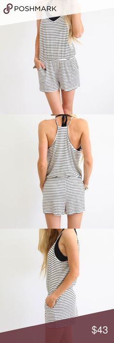 🎉NEW ARRIVAL🎉 Stripe Romper/Swim Cover Model is 5'3 wearing a small  Size Guide:  S- Length 25 in.  M- Length 25.5 in.  L- Length 26 in.  100% Cotton  Handwash cold / hang dry Shorts
