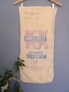 Kingscrost Hybrid Seed Corn Sack  Rustic Decor  by SunsetStreet, $18.00