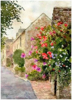 """Bourton-on-the-water, Cotsdwolds, England"" By Kiyoharu Narazaki, from Fukuoka-shi, Japan - watercolor -"