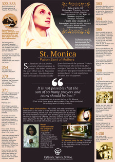 St. Monica - Patron saint of mothers, married women, alcoholics, abuse victims, difficult marriages.