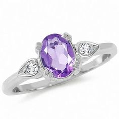 https://ariani-shop.com/natural-amethyst-white-topaz-925-sterling-silver-engagement-ring Natural Amethyst & White Topaz 925 Sterling Silver Engagement Ring