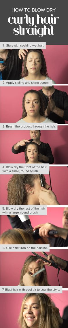 Turn your curly hair into a straight blowout this DIY blow dry tutorial. All you need is a blow dryer, two round brushes and a flat iron to do this at home. There's also a video with step-by-step instructions. Blow Dry Curly Hair, Curly Hair Care, Curly Hair Styles, Hair A, New Hair, Blowout Curls, Hair Color For Brown Skin, Hydrate Hair, Round Face Haircuts