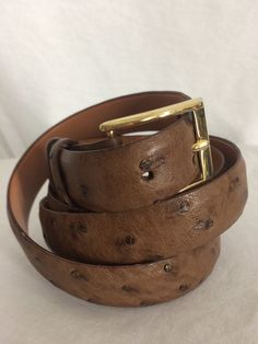 Full Quill Ostrich Steer Hide Lined Men's Belt Size 48 Brass Hardware USA Made #Unknown