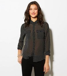 White polka dots #print black chiffon button down shirt #prints