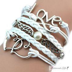Armband Perlen  Flügel & Love   im Organza Beutel