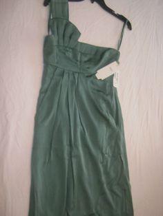 NEW Giorgio Armani Green Silk One Shoulder Knee Length Empire Cocktail Dress 4