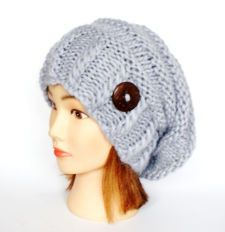 Slouchy beanie hat light gray blue slouch hats beanies chunky knitted hat irish handknit hats grey wool beanie women accessory button
