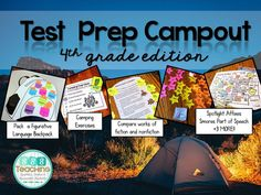Elementary test prep campout: Study reading, poetry skills, grammar, comprehension, sentence structure and more for fun test prep! 4th Grade Ela, 4th Grade Writing, 4th Grade Classroom, 4th Grade Reading, Third Grade, Classroom Decor, Future Classroom, Fun Test, Math Test