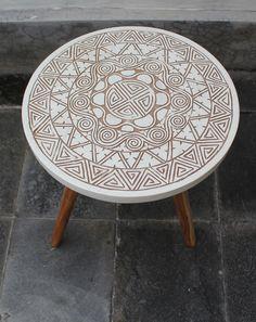 BOHO TRIBAL gesneden ontwerp drie been koffie bed tabel