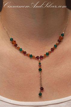 Purple, Green, and Orange Crystal Swarovski Necklace, Purple and Green Crystal Necklace, Green Swarovski Crystal Necklace by CinnamonandSilver on Etsy