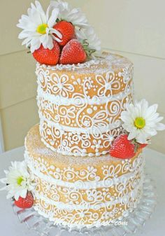 """This elegant, """"semi dressed"""" cake is a twist on the popular rustic naked cake! I love the naked cake, but this is very interesting as well. Gorgeous Cakes, Pretty Cakes, Cute Cakes, Amazing Cakes, Yummy Cakes, Bolos Naked Cake, Naked Cakes, Bolo Nacked, Dress Cake"""