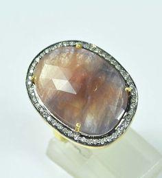 925 Sterling Silver Wonder Sapphire/Genuine Topaz Gemstone Vermeil Ring US -2033 #SilvestoIndia #Cocktail