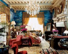 Exotic Living Room by Jacques Grange | AD DesignFile - Home Decorating Photos | Architectural Digest