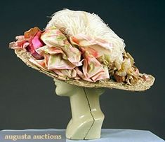 """LARGE BRIM WHITE LACE HAT, c. 1910 Valenceinnes lace over wire form, trimmed w/ chemical lace appliques, cloth roses, pink & white warp printed silk ribbon & white ostrich plume, 18"""" brim"""