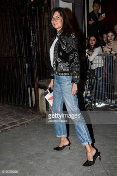 Emmanuelle Alt is seen arriving at Givenchy Fashion show during Paris Fashion Week Spring/Summer 2017 on October 2 2016 in Paris France