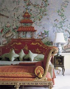 Summer style!! Chinoiserie orange and coral and green bedroom!! Look at the wallpaper!! Look at the headboard!! Brocket Hall