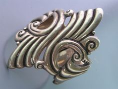 Vintage Taxco Mexican Mexico Sterling Silver Clamper Hinged Bracelet Bangle